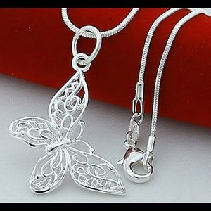2/$25 925 Silver Butterfly Necklace